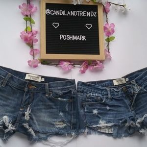 Lot of 2 size 00 A&F distressed denim shorts